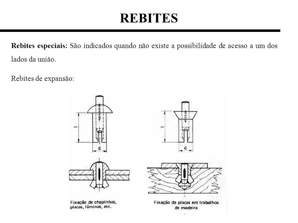 REBITES Rebites especiais: São indicados quando não existe a possibilidade de acesso a um dos lados da união.