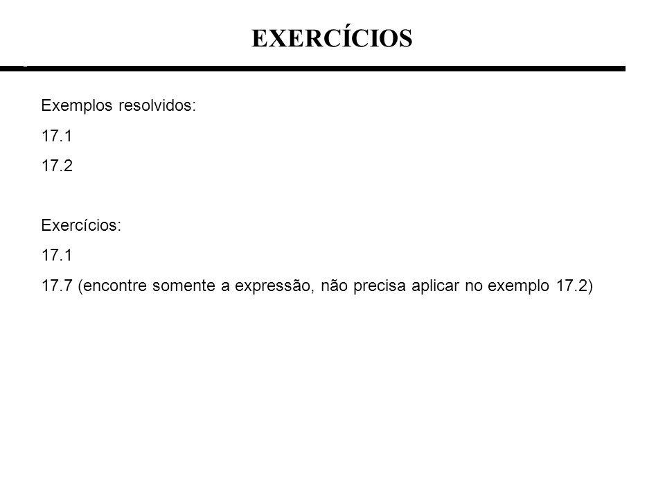 EXERCÍCIOS Exemplos resolvidos: 17.1 17.2 Exercícios: