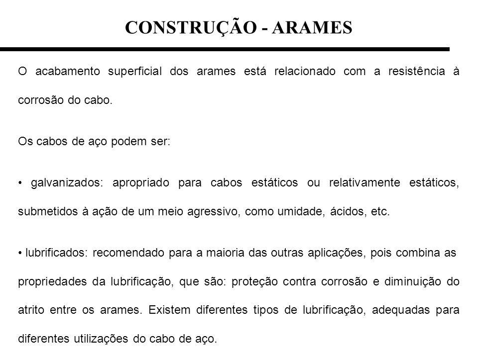 CONSTRUÇÃO - ARAMESO acabamento superficial dos arames está relacionado com a resistência à corrosão do cabo.