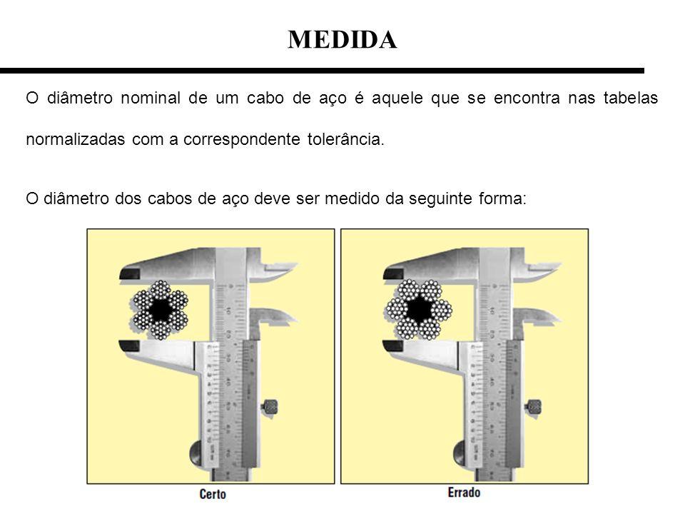 MEDIDA O diâmetro nominal de um cabo de aço é aquele que se encontra nas tabelas normalizadas com a correspondente tolerância.