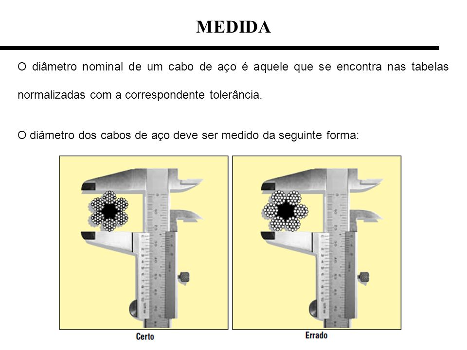 MEDIDAO diâmetro nominal de um cabo de aço é aquele que se encontra nas tabelas normalizadas com a correspondente tolerância.