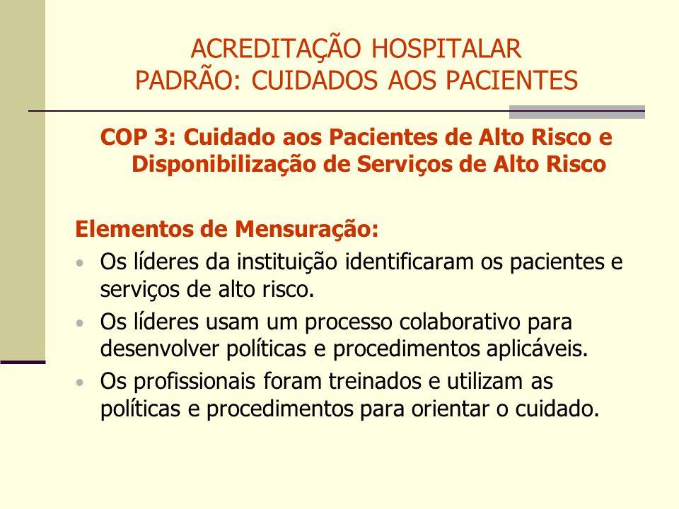 ACREDITAÇÃO HOSPITALAR PADRÃO: CUIDADOS AOS PACIENTES