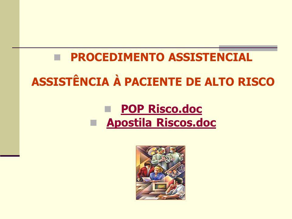 PROCEDIMENTO ASSISTENCIAL ASSISTÊNCIA À PACIENTE DE ALTO RISCO