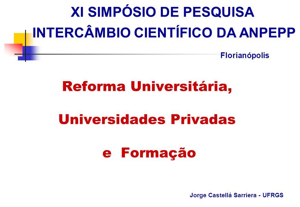 Reforma Universitária, Universidades Privadas e Formação