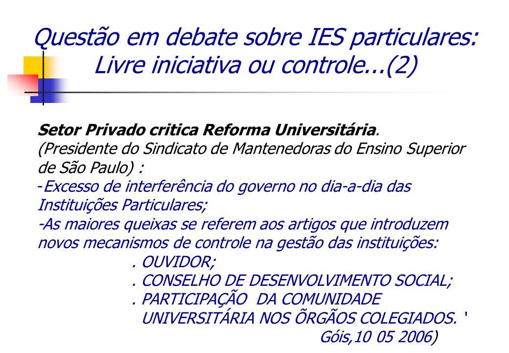 Questão em debate sobre IES particulares: