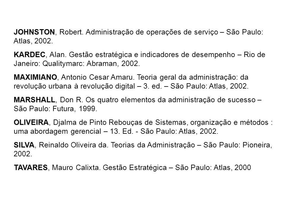JOHNSTON, Robert. Administração de operações de serviço – São Paulo: Atlas, 2002.