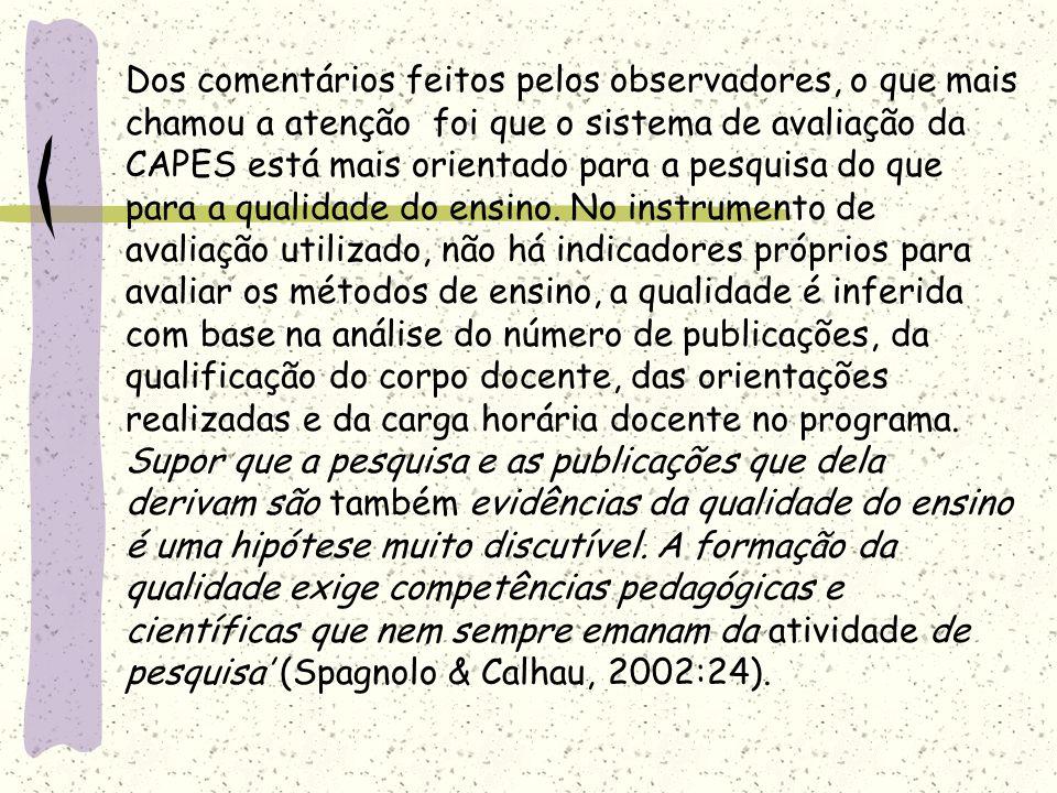 Dos comentários feitos pelos observadores, o que mais chamou a atenção foi que o sistema de avaliação da CAPES está mais orientado para a pesquisa do que para a qualidade do ensino.