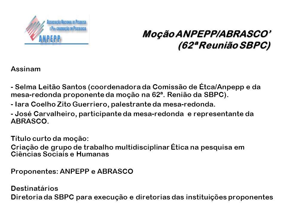 Moção ANPEPP/ABRASCO' (62ª Reunião SBPC)