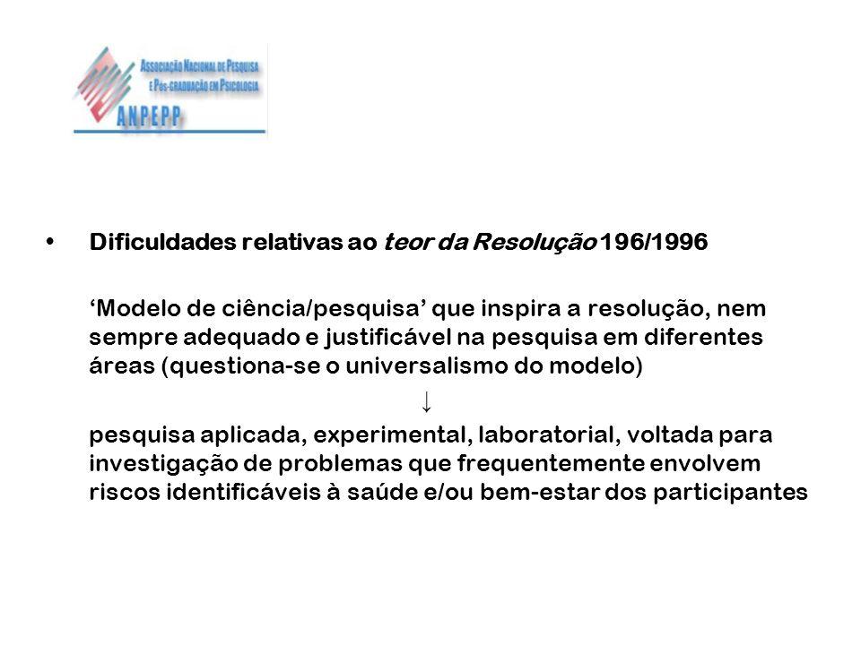 Dificuldades relativas ao teor da Resolução 196/1996