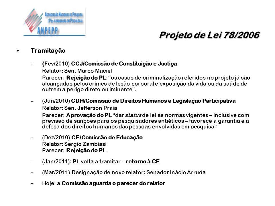 Projeto de Lei 78/2006 Tramitação