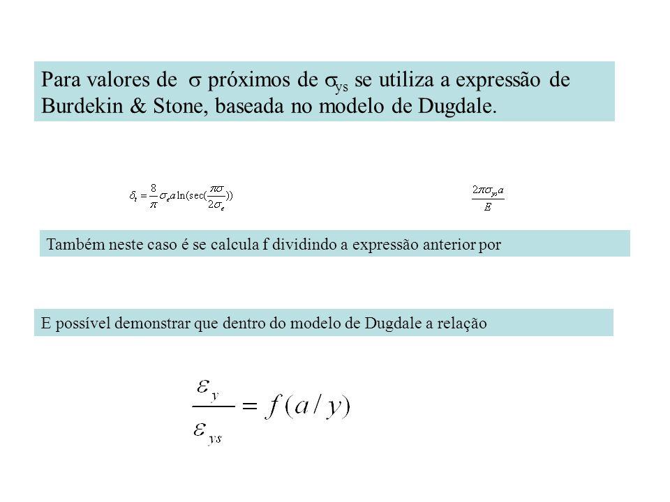 Para valores de s próximos de sys se utiliza a expressão de Burdekin & Stone, baseada no modelo de Dugdale.