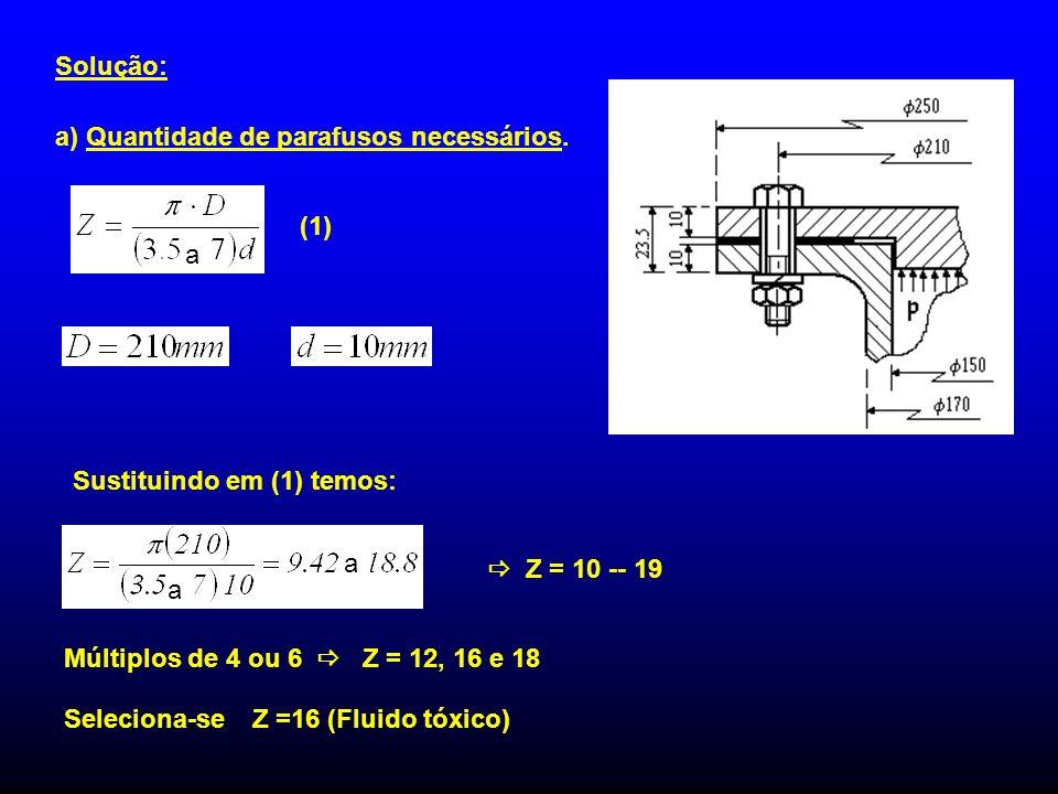 Solução: a) Quantidade de parafusos necessários. a. (1) Sustituindo em (1) temos: a.  Z = 10 -- 19.