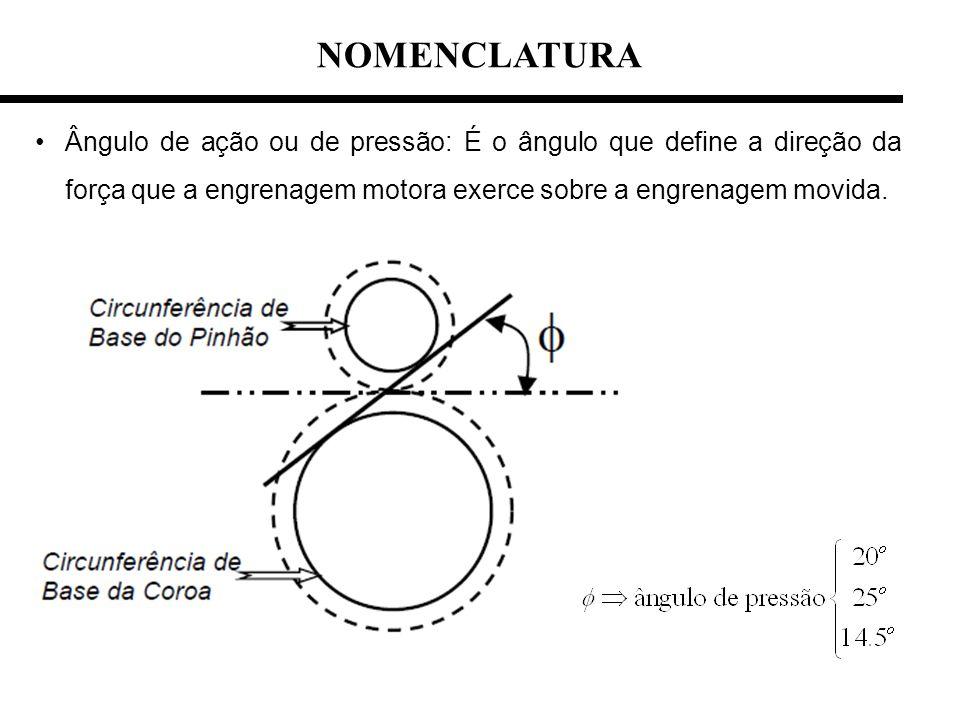 NOMENCLATURA Ângulo de ação ou de pressão: É o ângulo que define a direção da força que a engrenagem motora exerce sobre a engrenagem movida.