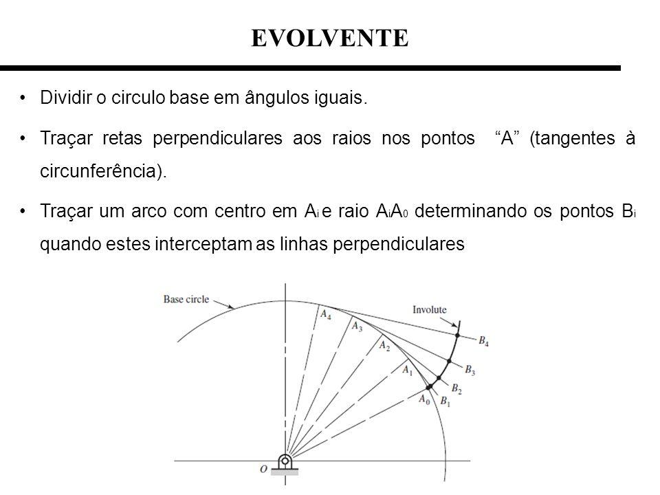 EVOLVENTE Dividir o circulo base em ângulos iguais.
