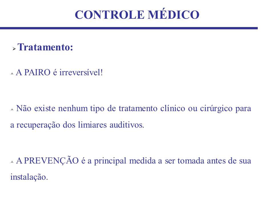 CONTROLE MÉDICO Tratamento: A PAIRO é irreversível!