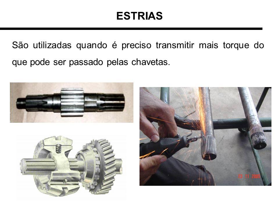 ESTRIAS São utilizadas quando é preciso transmitir mais torque do que pode ser passado pelas chavetas.