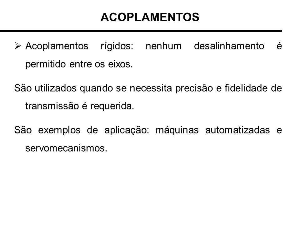 ACOPLAMENTOSAcoplamentos rígidos: nenhum desalinhamento é permitido entre os eixos.
