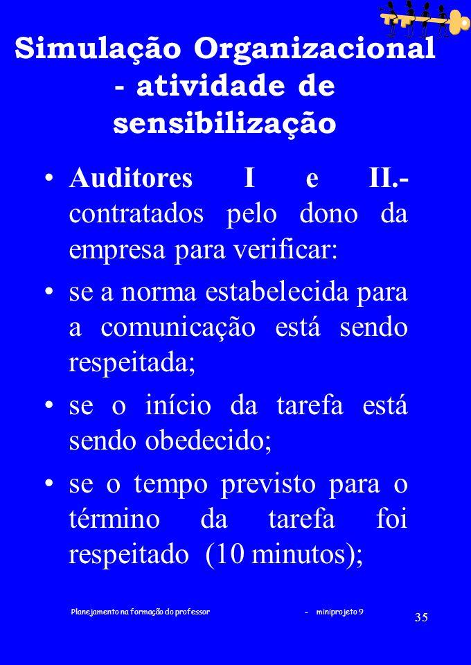 Simulação Organizacional - atividade de sensibilização
