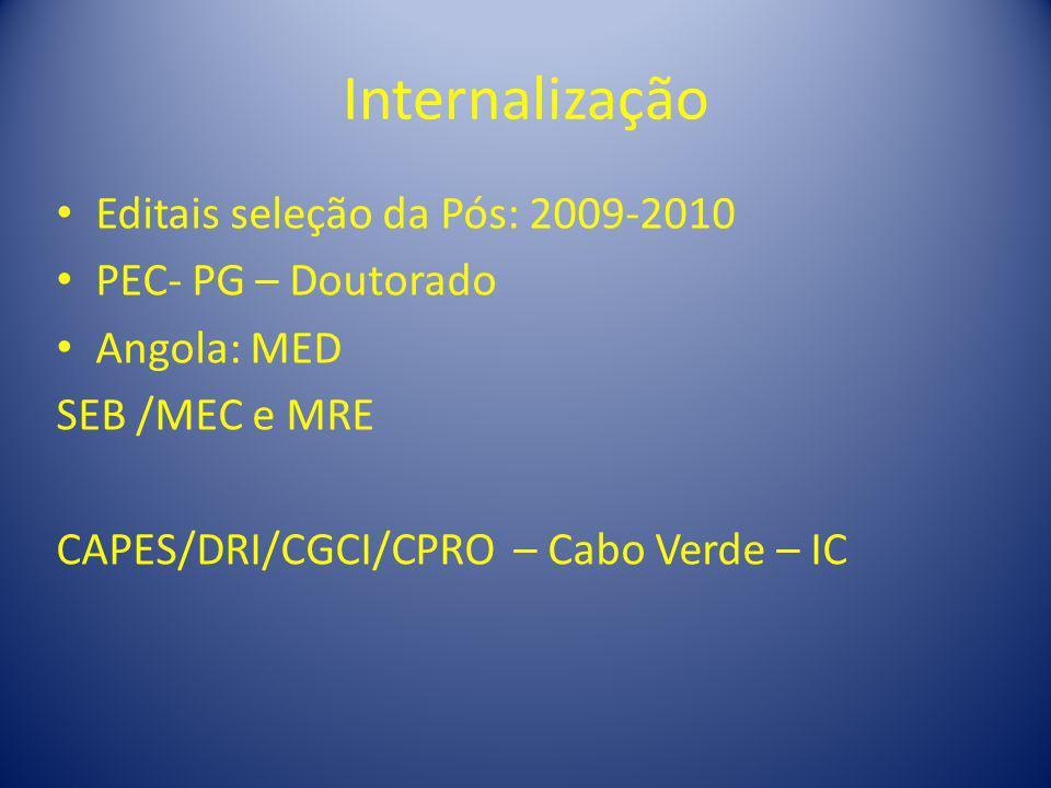 Internalização Editais seleção da Pós: 2009-2010 PEC- PG – Doutorado