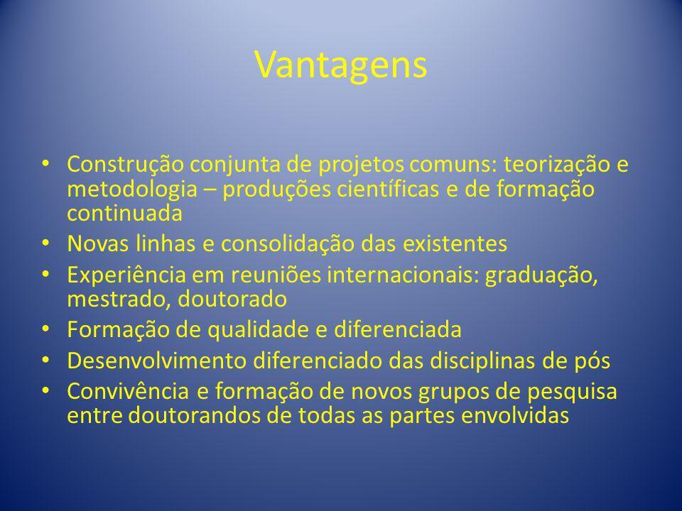 VantagensConstrução conjunta de projetos comuns: teorização e metodologia – produções científicas e de formação continuada.