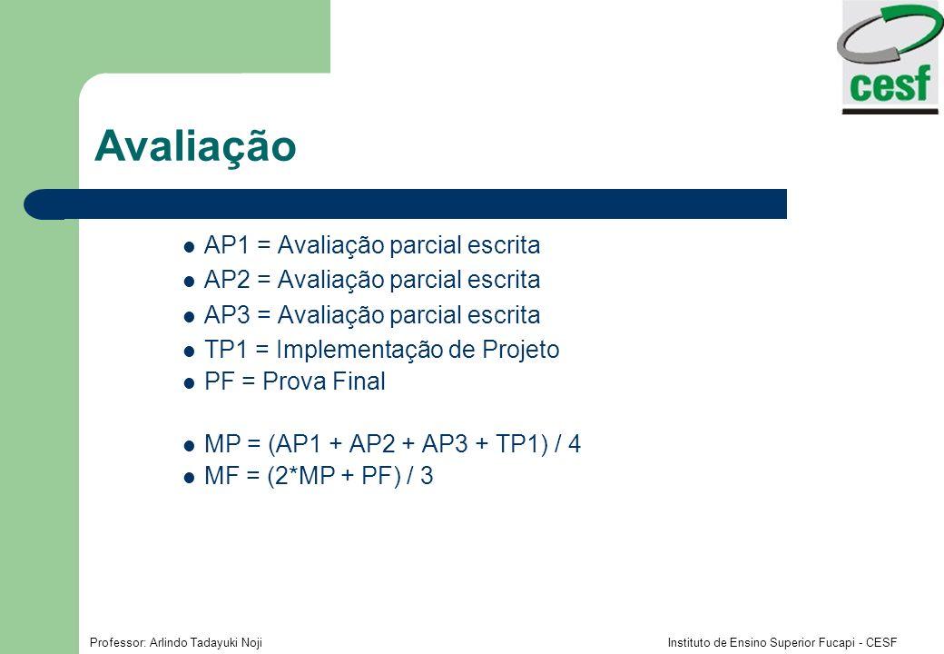 Avaliação AP1 = Avaliação parcial escrita