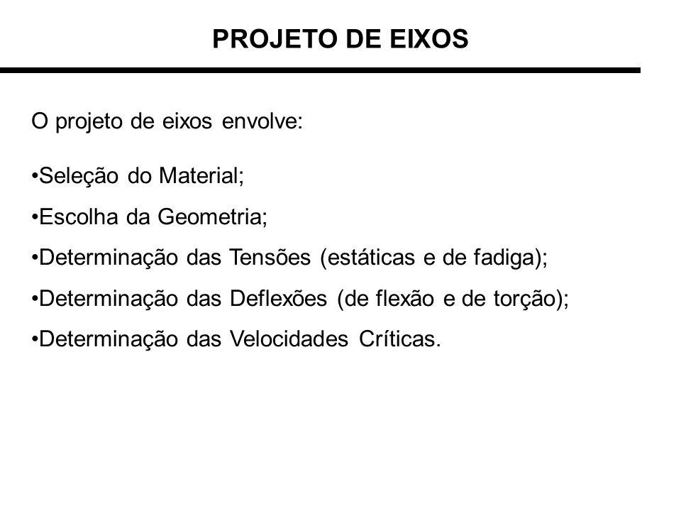 PROJETO DE EIXOS O projeto de eixos envolve: Seleção do Material;