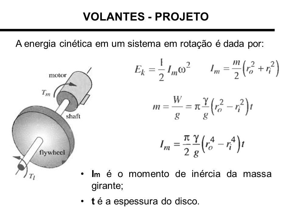 VOLANTES - PROJETO A energia cinética em um sistema em rotação é dada por: Im é o momento de inércia da massa girante;