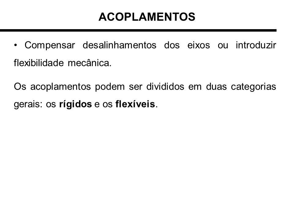 ACOPLAMENTOS • Compensar desalinhamentos dos eixos ou introduzir flexibilidade mecânica.