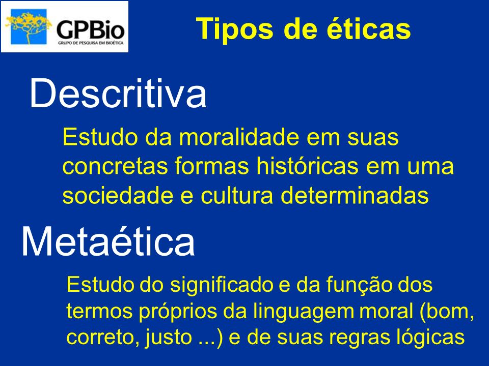 Descritiva Metaética Tipos de éticas