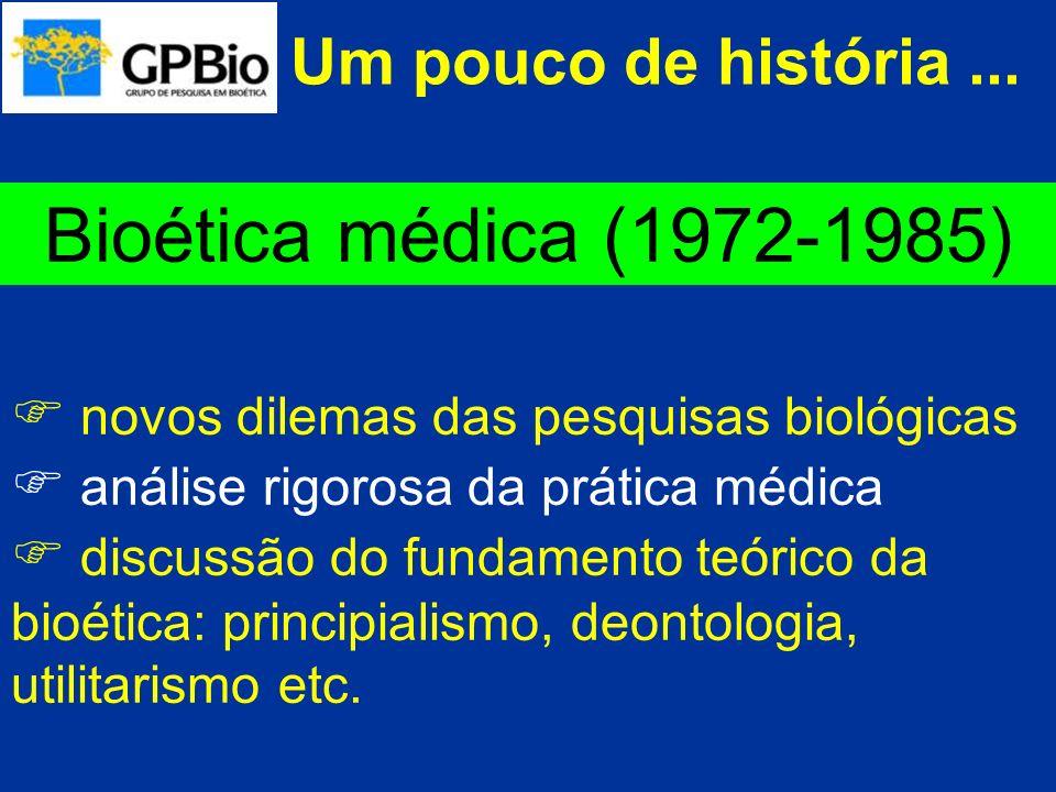 Bioética médica (1972-1985) Um pouco de história ...