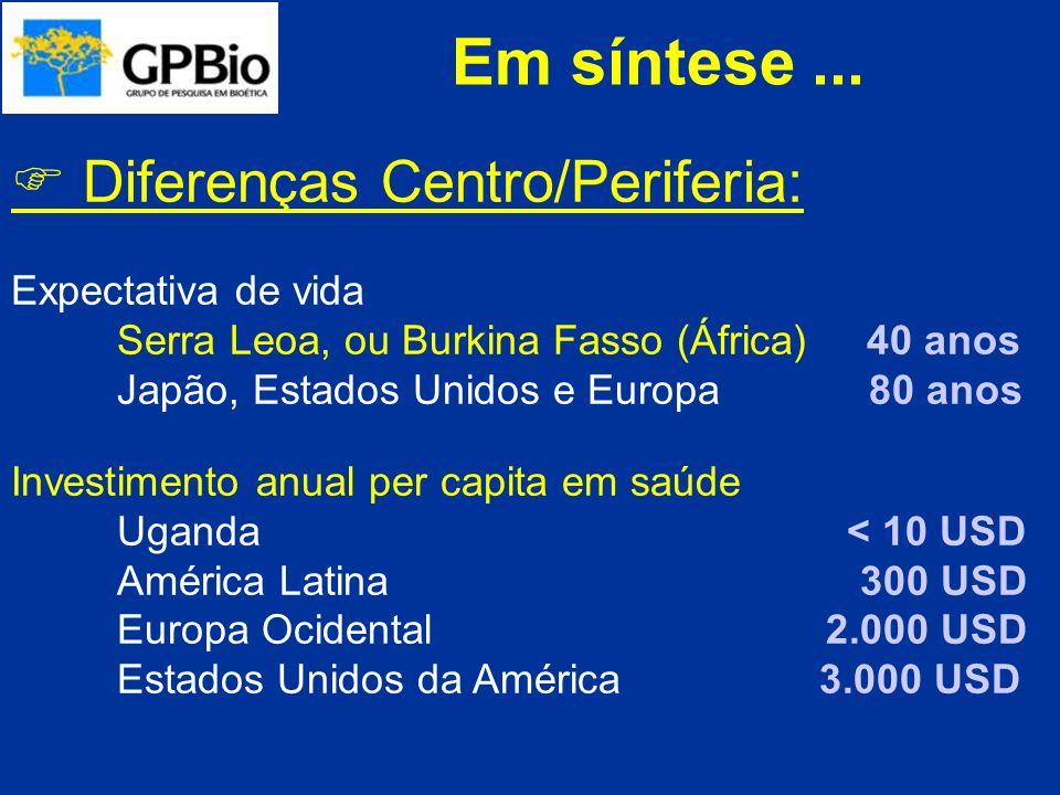 Em síntese ...  Diferenças Centro/Periferia: Expectativa de vida
