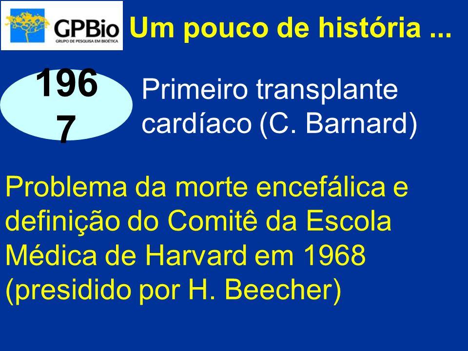 Um pouco de história ... 1967. Primeiro transplante cardíaco (C. Barnard)