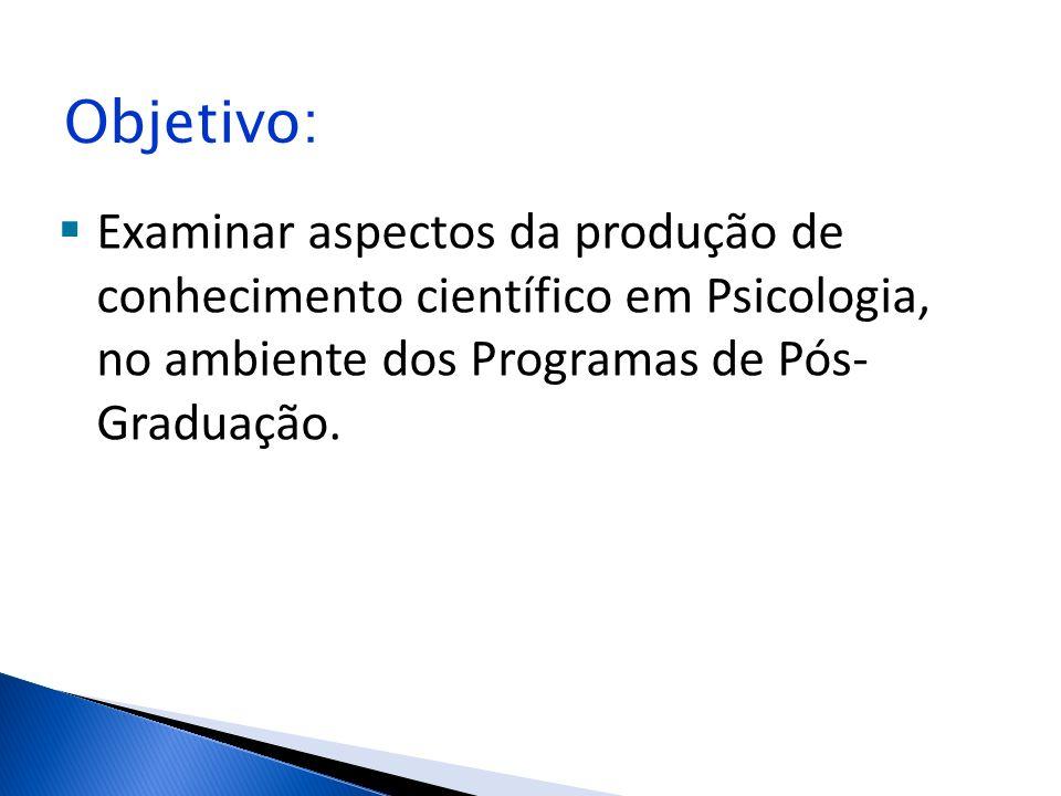 Objetivo: Examinar aspectos da produção de conhecimento científico em Psicologia, no ambiente dos Programas de Pós- Graduação.
