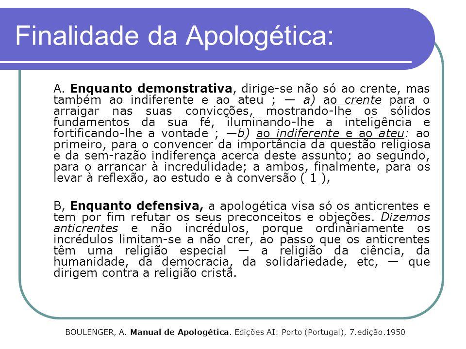 Finalidade da Apologética: