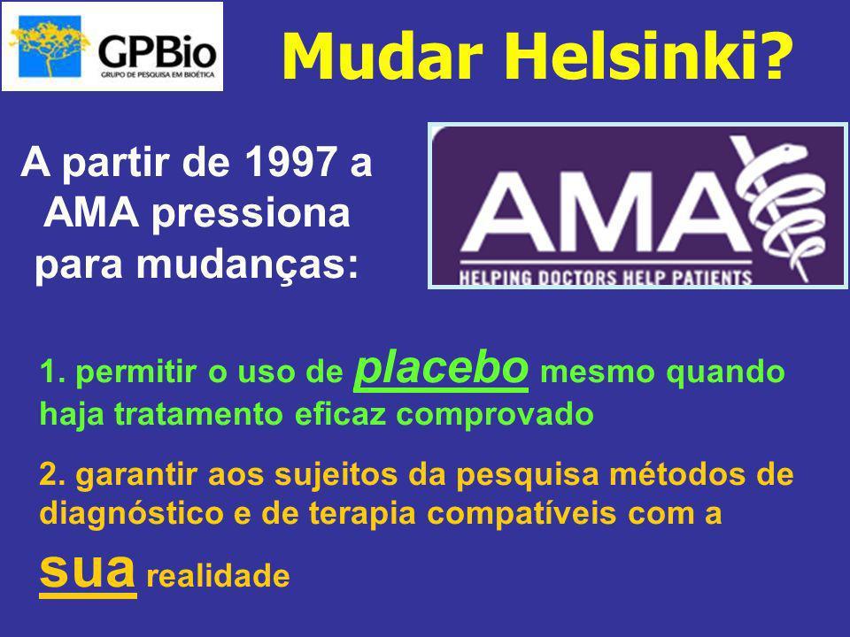 A partir de 1997 a AMA pressiona para mudanças: