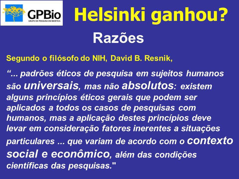 Helsinki ganhou Razões