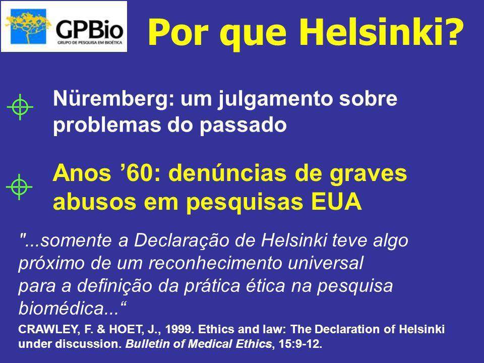 Por que Helsinki  Nüremberg: um julgamento sobre problemas do passado. Anos '60: denúncias de graves abusos em pesquisas EUA.