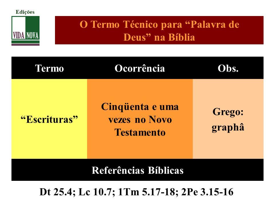 O Termo Técnico para Palavra de Deus na Bíblia Termo Ocorrência Obs.