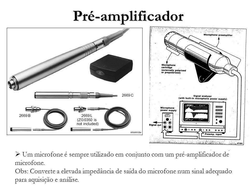 Pré-amplificador Um microfone é sempre utilizado em conjunto com um pré-amplificador de microfone.