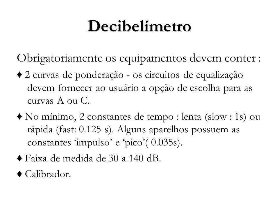 Decibelímetro Obrigatoriamente os equipamentos devem conter :