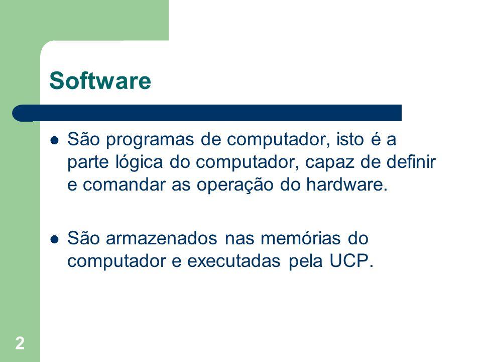 Software São programas de computador, isto é a parte lógica do computador, capaz de definir e comandar as operação do hardware.