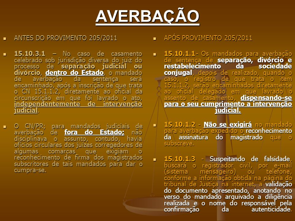 AVERBAÇÃO ANTES DO PROVIMENTO 205/2011