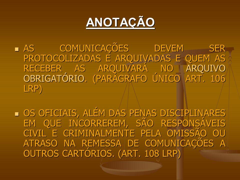 ANOTAÇÃO AS COMUNICAÇÕES DEVEM SER PROTOCOLIZADAS E ARQUIVADAS E QUEM AS RECEBER AS ARQUIVARÁ NO ARQUIVO OBRIGATÓRIO. (PARÁGRAFO ÚNICO ART. 106 LRP)