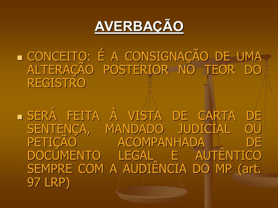 AVERBAÇÃO CONCEITO: É A CONSIGNAÇÃO DE UMA ALTERAÇÃO POSTERIOR NO TEOR DO REGISTRO.