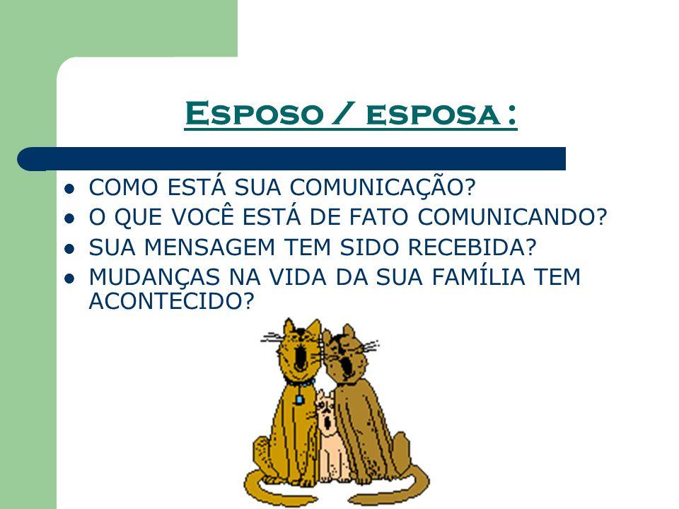 Esposo / esposa : COMO ESTÁ SUA COMUNICAÇÃO