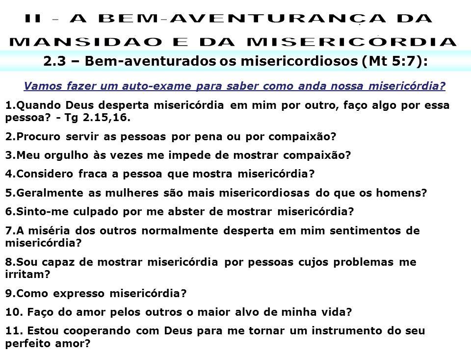 II - A BEM-AVENTURANÇA DA MANSIDÃO E DA MISERICÓRDIA