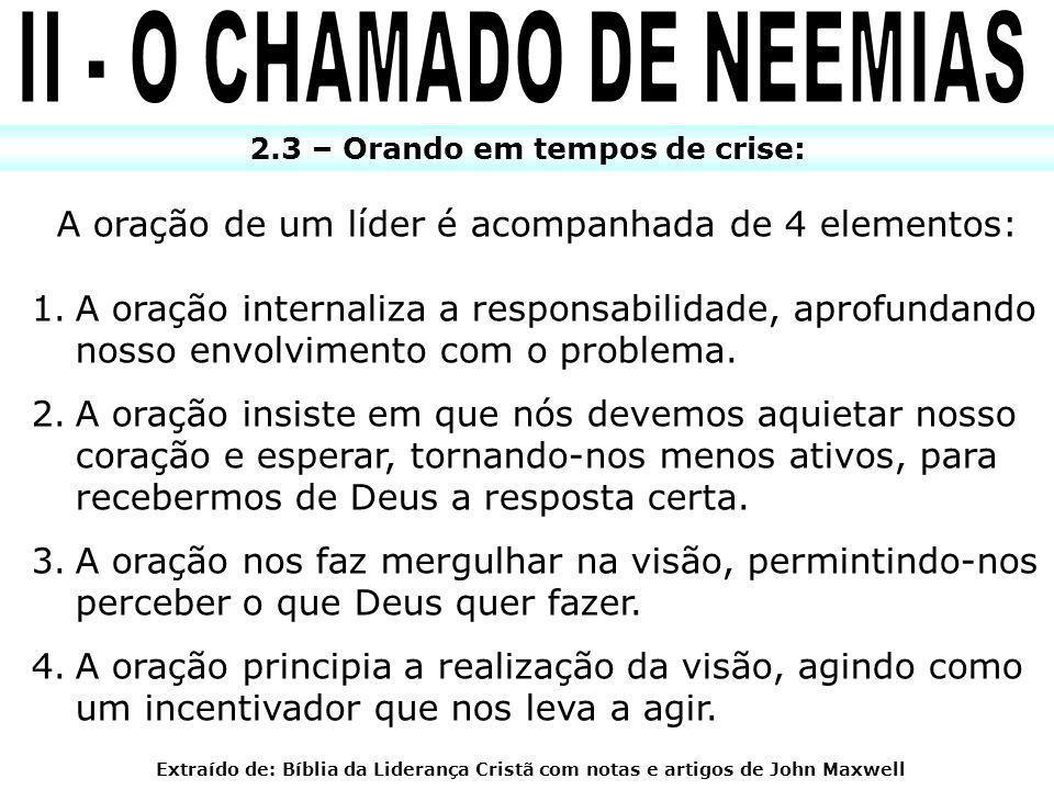 II - O CHAMADO DE NEEMIAS 2.3 – Orando em tempos de crise: