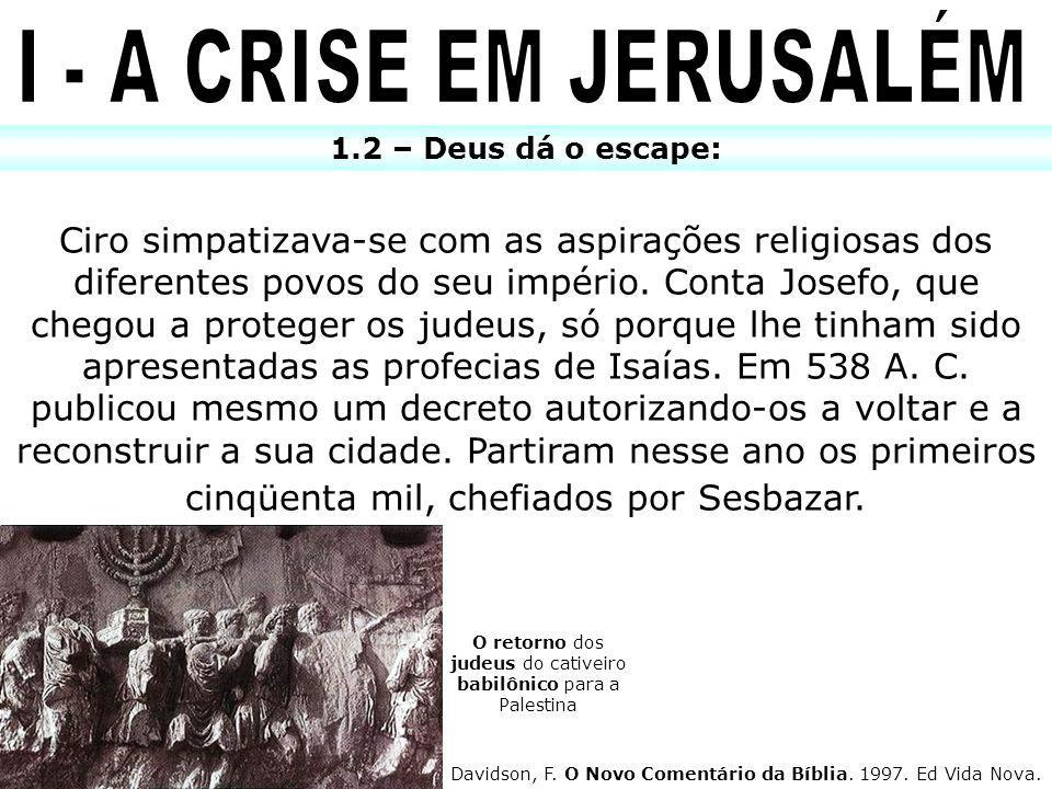 O retorno dos judeus do cativeiro babilônico para a Palestina