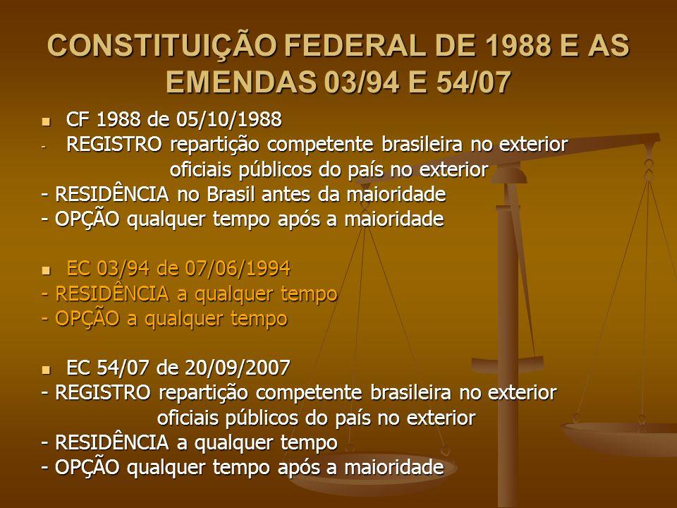 CONSTITUIÇÃO FEDERAL DE 1988 E AS EMENDAS 03/94 E 54/07