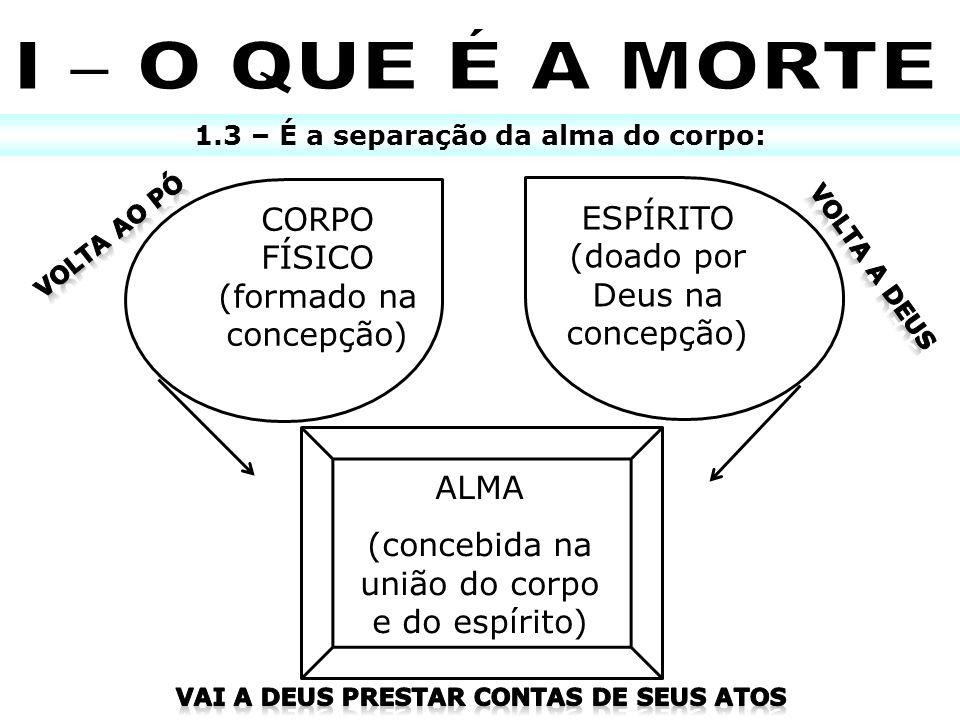 I – O QUE É A MORTE CORPO FÍSICO (formado na concepção)